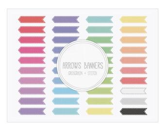 Digital Banner Clip Art Arrows Banners Grosgrain Stitch 40 Colors for Invitations, Crafts, Graphic Design...