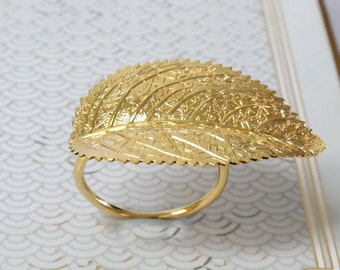 Gold Ring, Gold Leaf Ring, Woodland leaf Ring, gold leaves ring, Cocktail Ring, Statement Ring, Unique Ring, Organic Jewelry, Gift For Women