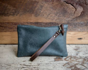 Leather Clutch Bag, Zipper Pouch, Leather Bag, Leather Wristlet, Wristlet, Leather Cord Bag, Blue Leather Wristlet