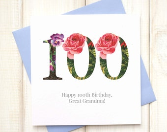 100th Birthday Card - Birthday Card for Her - Floral Birthday Card - Botanical Greetings Card - Centenary Birthday Card - Milestone Birthday
