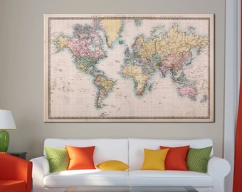 Antique world map etsy old antique world map canvas print vintage world map wall art for home office decor gumiabroncs Gallery