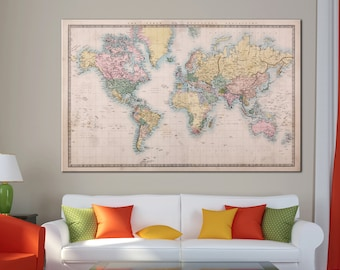 World map canvas etsy old antique world map canvas print vintage world map wall art for home office decor multi sized canvas print gumiabroncs Choice Image