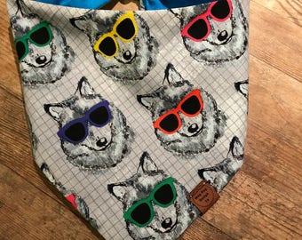 Husky Style,snap/tie on dog bandana