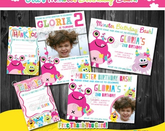 Girl's Monster party Birthday Invitation-Free Thank You Card-DIY Printable Monster Party Invitation-First Birthday-1st Birthday-Pink Monster