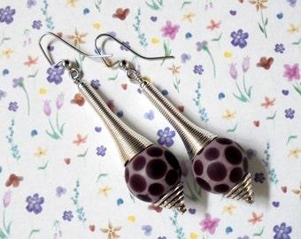 Purple Polka Dot Earrings (2337)