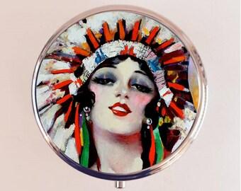 Native American Flapper Pill Box Case Pillbox Holder Trinket Stash Box Art Deco Indian Headdress