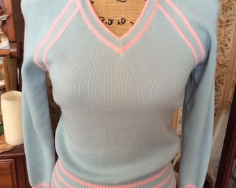 Vintage 1970s 1980s Sweater Pullover V Neck *Made For White Stag International In Hong Kong* Light Blue Pink Long Sleeve Distressed