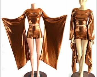 3PC Kimono Bolero, Crop Tank & High Waist Shorts Set in Copper Mystique Metallic Rave Festival Cosplay Wings  152474