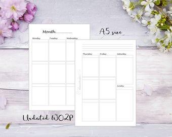 A5 | Printed | Planner | Insert | WO2P | Week on 2 pages | Filofax | Kikkik | Plain style | 13 Weeks