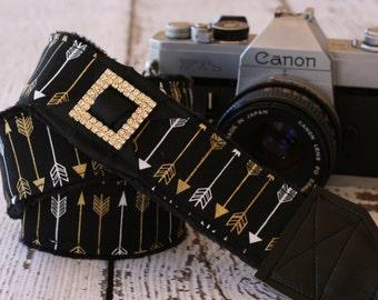 dSLR Camera Strap, Arrow Camera Strap,  Padded Camera Strap, Camera Strap for Canon or Nikon - Black and Gold Arrow.