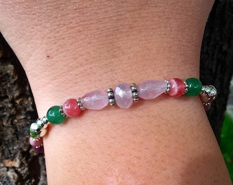 Open Heart Gemstone and Balinese Silver Bracelet - Intentional Gemstone Jewelry for Heart Chakra Health and Healing