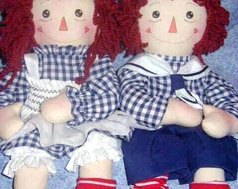 Instant Download Raggity Twins 20 inch cloth rag doll pattern