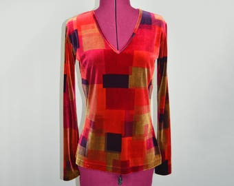 Velvet Patchwork V Neck, clueless, abstract, colorful, 90s
