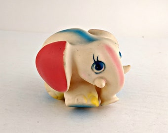 Vintage Elephant Rubber Squeaky Squeak Squeeze Toy Made in Taiwan