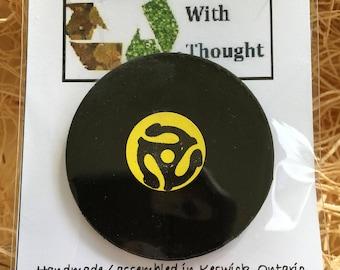 Re-purposed vinyl record fridge magnet