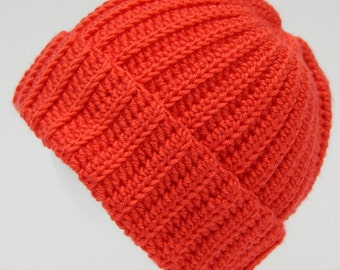Bright coral orange/pink traditional crochet beanie.  Boys or girls crochet ski hat to suit 1 to 3 months. Child's watch cap. Warm toque.