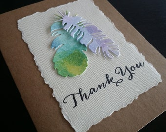 Rustic Kraft Thank You Cards, Recycled Paper, Handmade, Watercolor, Feather Designs