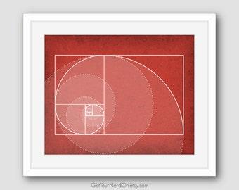Fibonacci Spiral Art, Golden Ratio Poster, Math Nerd Decor, Math Teacher Gift, Best Seller