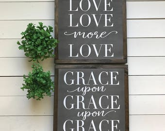 "Grace and Love set of 2 | handmade wood sign | 13"" x 13"" 