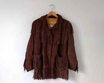 Vintage 1960s 1970s fringed suede leather jacket, size medium