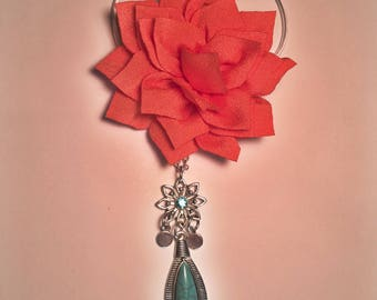 Messy Bun Maker and Hair Jewelry, 2-Piece Set, Orange Lotus Flower with A Beautiful Dangling Charm, Hair Accessories For Women, Gifts