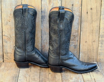 Us 6, Uk 4, Eu 36, Lucchese Boots, Black Cowboy Boots, Black Western Boots, Black Leather Boots, Pointed Toe Boots, Cuban Heel Boots, USA