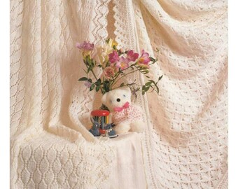 vintage knit pattern 2 beautiful baby shawls instant download knitting pattern