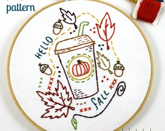 Pumpkin Spiced Latte. Hand Embroidery Pattern. Digital Pattern. PDF Pattern. Fall. Autumn. Harvest. Acorns. Fall Leaves. Embroidery Design.