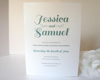 Folded Wedding Program, Green Wedding Program, Wedding Ceremony Programs, Order of Ceremony, Green Weddings, Modern - DEPOSIT