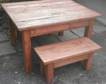 Beautiful Primitive Distressed American Walnut Cabin Farmhouse 40x50x30h Kitchen FARM House Table 4Ft Benches Available Custom Size Colors