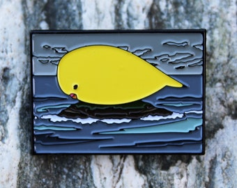 Lutino Budgie Parakeet in the Ocean Soft Enamel Pin