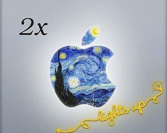 Apple MacBook Decal Starry Night MacBook Sticker GLOWING Apple Decal Apple Sticker Apple Logo Decal MacBook Air Van Gogh Art LG 101x2