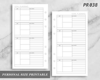 Personal Size Printable Goal Planning Goals Digital Download PR038
