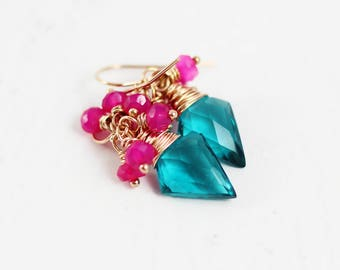 Teal Stone Earrings, Hot Pink Earrings, Pink Chalcedony Earrings, Bright Earrings, Rose Gold Earrings, Wire Wrap Earrings, Colorful Earrings