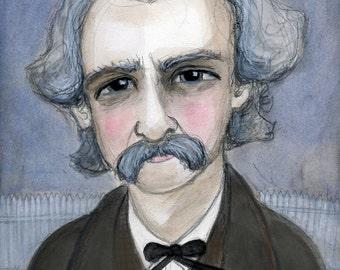 Mark Twain, Literary Art Print, Literary Portrait, Writers Portrait, Literary Illustration (6x8) Victorian Decor, Tom Sawyer Art