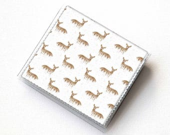 Handmade Vinyl Moo Square Card Holder - Deers on White / case, vinyl, snap, wallet, paper, mini card case, moo case, square, deer, blue