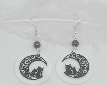 Black and white cat with Hematite bead earrings