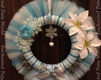 Christmas wreath, frozen inspired wreath, blue and white wreath, flower tulle wreath, tulle wreath