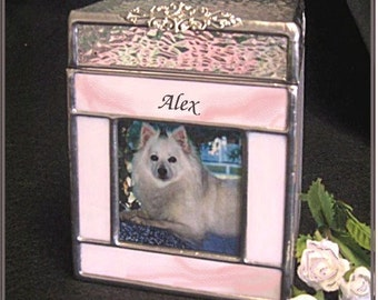 Pet Urn Small #2 Cat,Dog,Bunny,Ferret Pet Cremation Photo Urn in Stained Glass