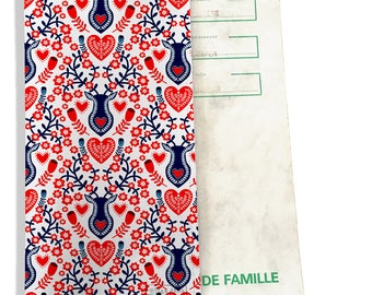 Protects family record pattern Scandinavian red and Navy P3229 REF.