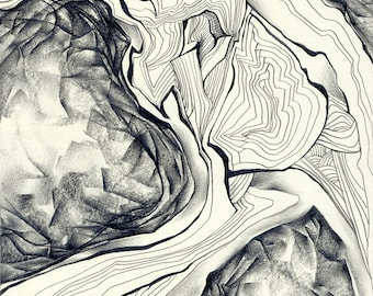 "Abstract pencil drawing - original abstract drawing ""Landscape"", paper"