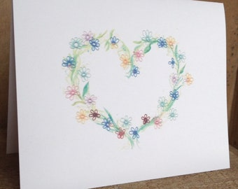 Tatting & Watercolor Heart Print Note Cards