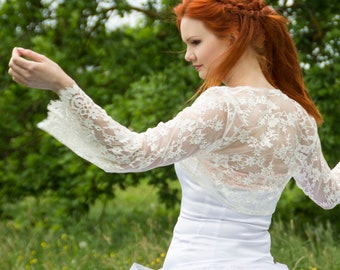 Antique white bolero, Bridal bolero, wedding lace bridal bolero, bell sleeve lace bolero