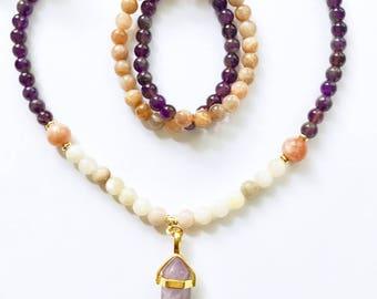 Mala Beads, Moonstone Mala, Amethyst Mala Beads, Mala Necklace, Prayer Beads, 108 Mala Beads, Mala, New Moon Mala, New Beginnings Mala, MNMA