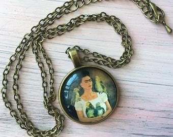 Frida Kahlo necklace pendant antique brass