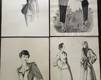 Vintage original art student illustrations set of 4 from 1940s