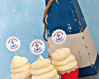The NAUTICAL Fare - Custom Cupcake Toppers and Their Wraps from Mary Had a Little Party