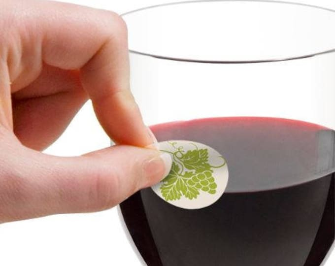 Wine Glass Decals - Vintage Wine Country 1 Inch Round Reusable Glass Tags, Glass Not included, 12 Per Pack