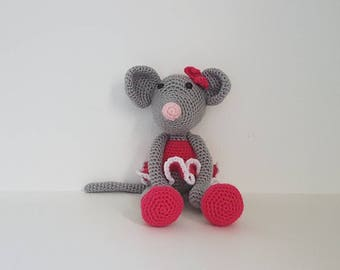 Ballerina Mouse Toy with Tutu, Crochet Mouse, Ballerina Mouse, Toy Mouse, Handmade Crochet Mouse, Baby shower gift - MADE TO ORDER