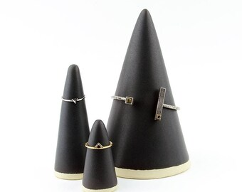Set of Bracelet and Ring Cones - Jewelry Display Holders - Hand Made Stoneware Ceramic - Satin Matte Black